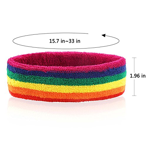Taihao Story 6Pcs Gay Pride LGBT Pride Sweatband Sport Color Run Athletic Cotton Terry Cloth Hair Band by Taihao Story (Image #3)