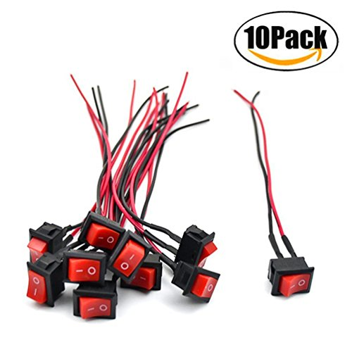 COOLOOdirect 10 Pcs Red AC 6A/250V 10A/125V 2 Solder SPST On/Off Mini Boat Wired Rocker Switch Car Auto Boat Round Rocker 2Pin Toggle SPST Switch Snap With lines (Red, 2.1 x 1.5cm)