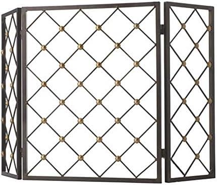 暖炉スクリーン MYL 暖炉の屏風 - オープン火災/ガス火災のための黒の3パネル錬鉄火スクリーンスパークガードカバー/ログウッドバーナー (Color : Black)