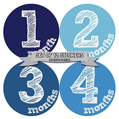 Months in Motion Monthly Baby Stickers Baby Boy Month 1-12 Milestone Sticker (1132)