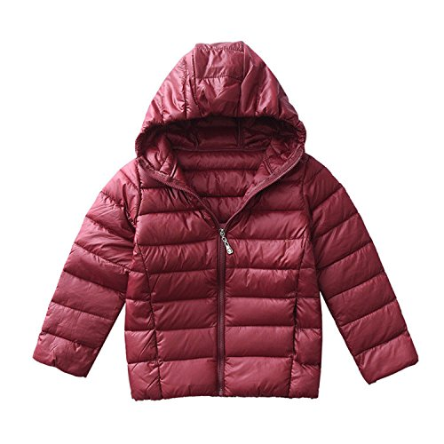 Puffer Jacket Hooded Girls (Hiheart Boys Girls Hooded Down Jackets Packable Puffer Winter Coat Wine Red 7T)