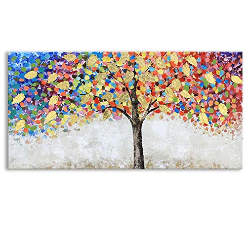 (Kas Home Abstract Art - Blooming Gold Leaf and Colorful Flower Tree - Canvas Prints Large Framed Wall Art Wall Paintings for Living Room Bedroom Home Decorations Wall Decor (20)