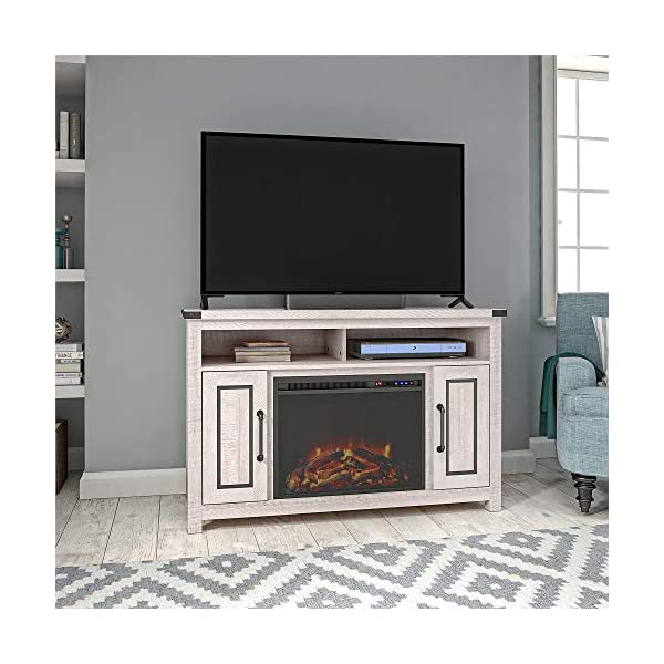 "Ameriwood Home Cedar Ridge Fireplace 70"", Rustic White TV Stand"