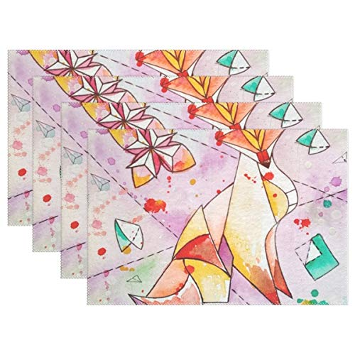 KRDFbxh Figure Origami Fox Chanterelle Watercolor Painting Placemats Heat Insulation Stain Resistant for Dining Table Durable Non-Slip Kitchen Table Place Mats 4 Pieces -