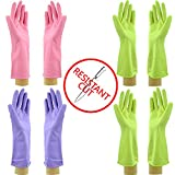 Star Quality Cut Resistant Kitchen Gloves 4 Pairs Set | Durable Latex Gloves Odor Free | Reusable Bathroom Gloves in 4 Colors (S-M-M-L, Pink-Lilac-Lime-Lime)