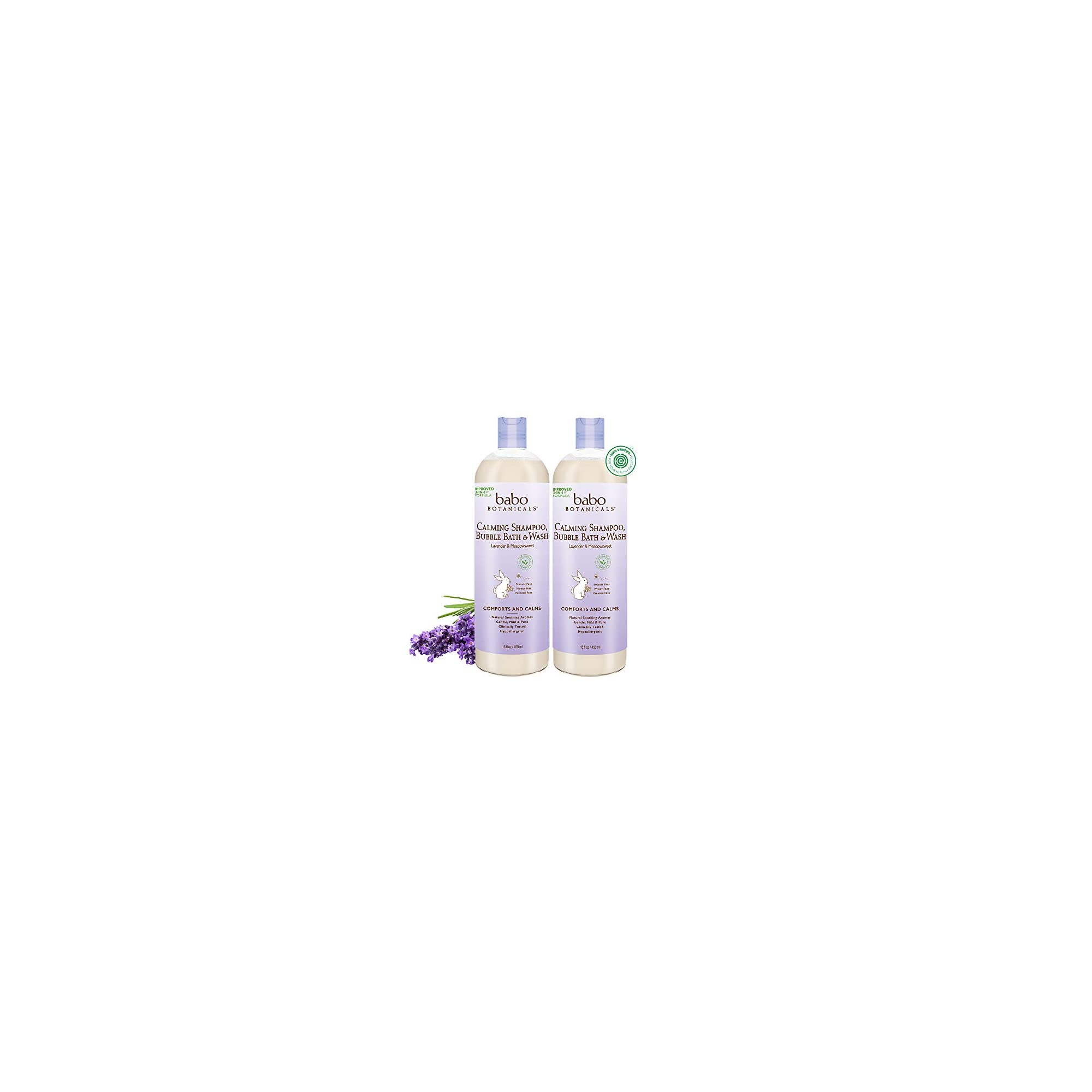 Babo Botanicals Calming 3-in-1 Shampoo, Bubble Bath & Wash with French Lavender and Organic Meadowsweet, Hypoallergenic, Vegan, For Babies and Kids – 2-Pack 15 oz.