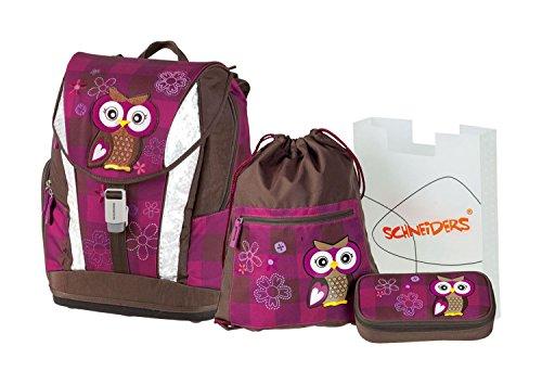 Schneiders Vienna  Soft Schulranzenset Olivia The Owl 4-Teilig Schlamperetui, Sportbeutel Heftbox 21 Liters Mehrfarbig (Bordeaux) 250167