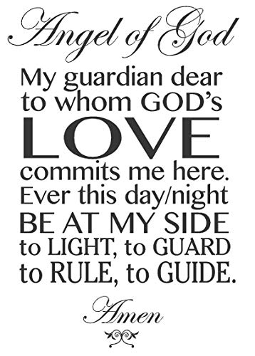 Newclew Prayer to Guardian Angel of God, Removable Wall Art Sayings Sticker Décor Decal Prayer Church Jesus Religious (15''Wx22''H) (Angel Of God My Guardian Dear Prayer Plaque)