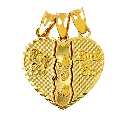 Textured 10k Gold 3-Piece Mom and Daughters Breakable Heart Bracelet Charm by Mother's Jewelry