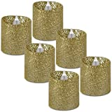 WYZworks Gold Glitter Tea Light Flameless LED Faux Wax Candle 6PK