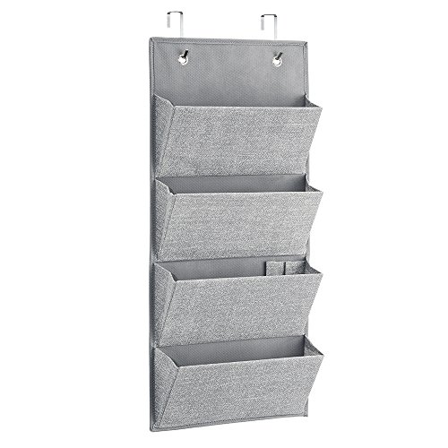 Amazon.com  mDesign Over the Door Fabric Office Supplies Storage Organizer for Notebooks Planners File Folders - 4 Pockets Gray  Office Products  sc 1 st  Amazon.com & Amazon.com : mDesign Over the Door Fabric Office Supplies Storage ...