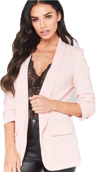 New Womens Ladies frill ruffle long sleeve Open Front duster coat jacket blazer
