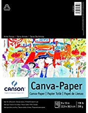 Canson Foundation Series Canva-Paper Pad Primed for Oil or Acrylic Paints, Top Bound, 136 Pound, 9 x 12 Inch, 10 Sheets