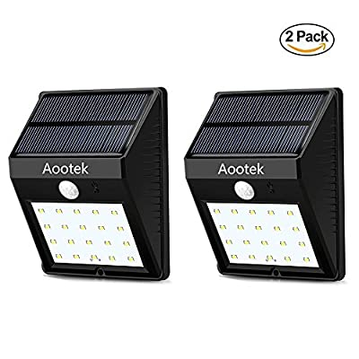 2 Pack Solar Deck Lights 20 LED, Aootek Waterproof Outdoor Wireless Motion Sensor Light for for Patio, Deck, Yard, Garden (2)
