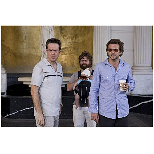 The Hangover 8 inch x 10 inch PHOTOGRAPH Alan Holding Baby w\th Sunglasses on Phil Holding Coffee and Stu in Front of Statue and Pilliars Mid - On Hangover Phil