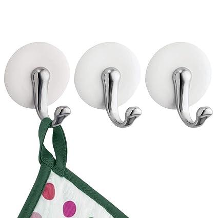 mDesign perchero pared - Gancho adhesivo para una instalación sin taladro - Perfecto para paños de cocina, trapos de cocina o delantales de cocina - ...