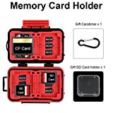 Hengye Memory Card Holder Waterproof Shock Resistant Protector Carrying Case 24 Slots for 4 CF & 8 SD & 12 TF/Micro SD Storage with Carabiner
