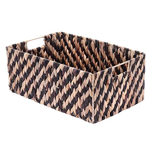 Seagrass Nesting - Villacera Rectangle Handmade Twisted Wicker Baskets Made of Water Hyacinth | Nesting Brown and Natural Seagrass Bins | Set of 2