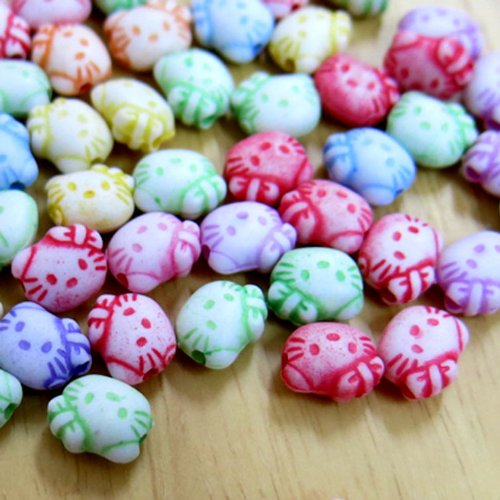 Beading Station 100-Piece BSI Mix Color Acrylic Cat's Head Loose Beads for Kid's Jewelry Making, 8 by 6mm - Cat Beads