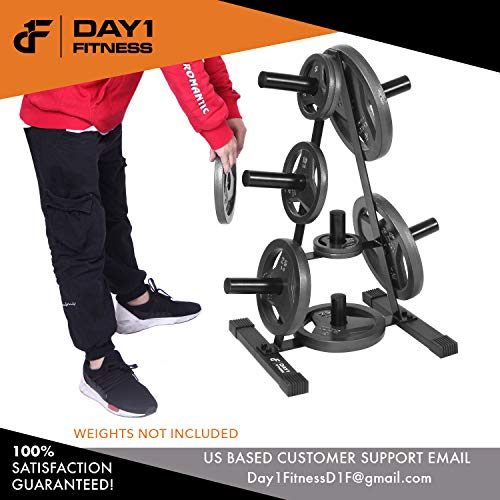 "Olympic Weight Plate Rack, Holds up to 500lb of 2"" Weights by D1F - Black Weight Holder Tree with 7 Branches for Stacking and Storing High Capacity Weights- Heavy-Duty, Durable Triangle Plate Racks by Day 1 Fitness (Image #5)"