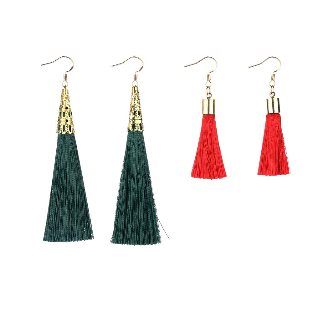 Sppry Gold Long Tassel Earrings Set Bohemian Dangle Drop for Women Girls, 2 Pairs (Green+Red)