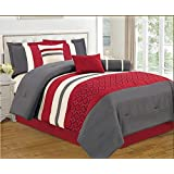 Sofia Embroidered 7 Piece Striped Comforter Bed Set, Queen, Red / Grey / Ivory / Black