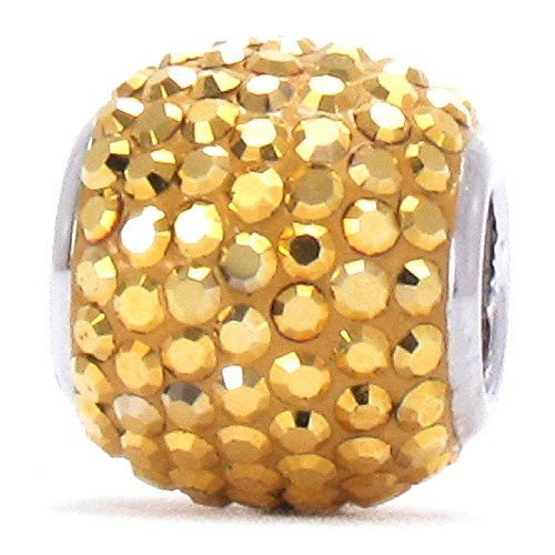 Authentic BELLA FASCINI Large Premium Pave Bead Charm - 925 Silver - Fits Bracelets - Heritage Gold (Silver Wholesale Gemstone Bracelet)
