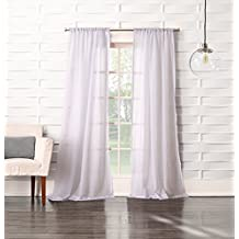 """Easy Care Fabrics 444193 Crushed Modern Cotton Look Sheer Rod Pocket Window Covering/Curtain/Drape/Panel/Treatment, 50""""x 63"""", White"""