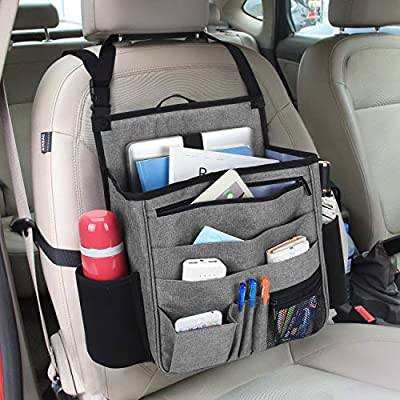 LUXJA Car Front Seat Organizer with Laptop and Tablet Storage Pockets, Car Seat Organizer with Back Adjustable Straps, Gray: Automotive