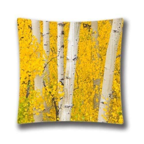 Golden Aspens Rocky Mountains Colorado Cotton Polyester Home Decorative Accent Throw Pillow Cover Cushion Case Pillowcase for Sofa 18-inch