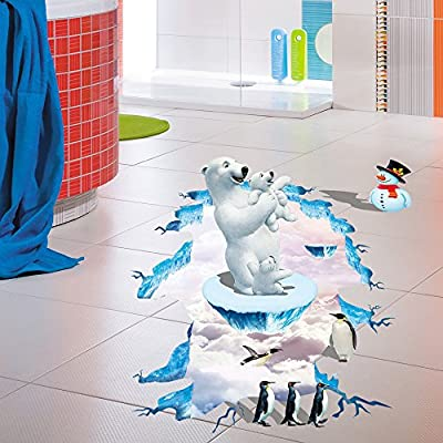 Fenleo Polar Bear 3D Wall Sticker Wall Mural Removable Vinyl Decal Room Floor Decor Kids Rooms Bedroom Bathroom Living Room Kitchen