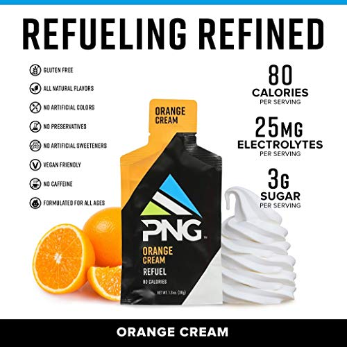 Refuel by PNG Sports Nutrition Endurance Energy Gels 24 Pack (Orange Cream)