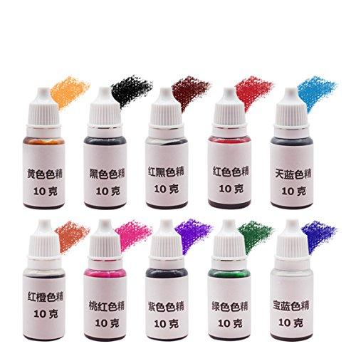 Fincos 10Pcs Epoxy UV Resin Ultraviolet Curing Dye Colorant Liquid Pigment Mix Colors DIY Crafts by Fincos