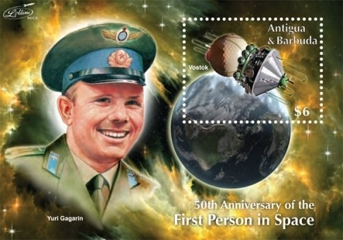 (Space - 50th Anniversary of The First Person in Space Collectors Stamp - Antigua and Barbuda)