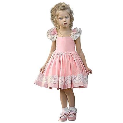 08442bbda0c42 Amazon.com: Gufenban Baby Girl Pageant Flower Girl Dress Kids Fancy Wedding  Bridesmaid Gown Formal Mini Princess Dresses (Pink, 6-12 Months): Kitchen &  ...