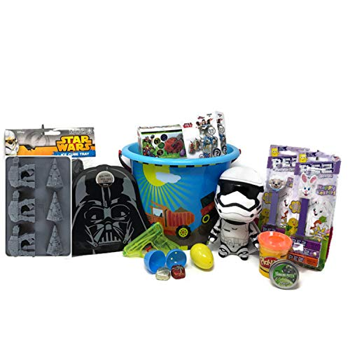 MitranDe Boys Star Wars Gift Basket~Storm Trooper Plush, Star Wars Dog TAG Candy, PEZ, Darth Vader Snack Plate, ICE Cube Tray. Easter Eggs Filled with Candy, Easter Marvel GEM DIG IT & Much More! ()