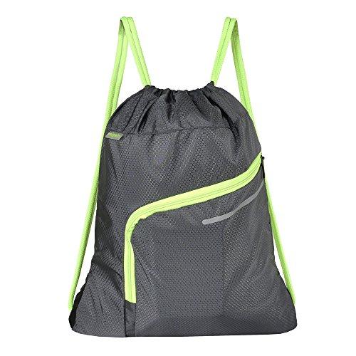 Saigain Men & Women Large Sport Gym Sack Drawstring Backpack Bag(Black,Grey,Mystic Grey,Stripe Static,Stripe Static Pink) (Grey) Review