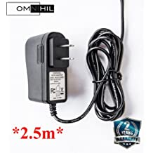 OMNIHIL (2.5m) 9 Volt 1.5 Amp Power Adapter, AC to DC, 2.1mm X 5.5mm Plug, Regulated UL 9v 1.5a Power Supply Home Wall Charger
