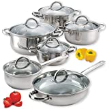 12 Piece Stainless Steel Lightweight Cookware Set Pots And Pans Dishwasher Safe