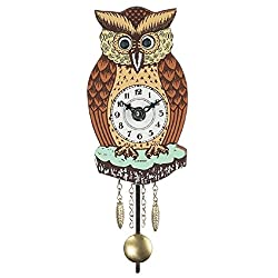 Pinnacle Peak Trading Company Brown Owl with Moving Eyes and Pendulum Quartz Movement Mini German Clock