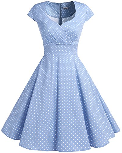 Short 1950s Retro Vintage Cocktail Party Swing Dresses Blue Small White Dot M ()