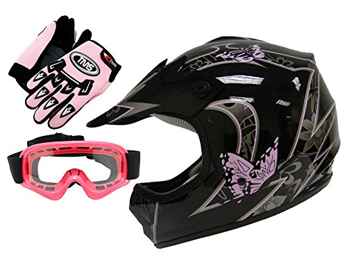 TMS® Youth Kids Pink Butterfly Dirtbike Atv Motocross Helmet Mx W/goggles/gloves (Small) (Small Atv Helmets Kids)
