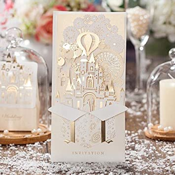 Wishmade 50x Laser Cut 3D Gold Gilding Wedding Invitations Cards With Bride  And Groom In Castle