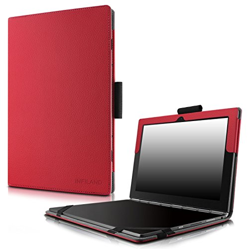 Infiland Lenovo Yoga Book Case, Folio Premium PU Leather Stand Cover for Lenovo Yoga Book 2-in-1 10.1-Inch Tablet (Android and Windows Version) -Red