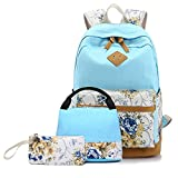 Teens Girls Backpacks with Lunch Bag 3 Set, Canvas Girls School Book Bags (Light Blue Flower)