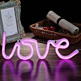 Qunlight Neon Night Light Love Shaped with Pink Lamp USB & Battery Powered No Heat Hanging for Wedding Sign,Wall Decor,Birthday Party,Camping,Kids Room, Living Room,Bedroom,Bar(Pink Love)