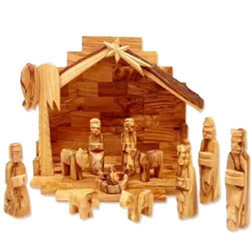 - Holy Land Market Olive Wood Miniature Set with Stable 12 Pieces (Bark Roof Stable)