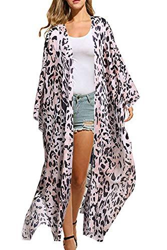Yonala Women's Flower Pattern Sheer Chiffon Beachwear Bimini Cover Ups Kimono Cardigan (L, Pink Leopard)