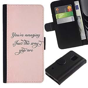 KingStore / Leather Etui en cuir / Samsung Galaxy S5 V SM-G900 / Increíble Apenas la manera melocotón Oro Caligrafía