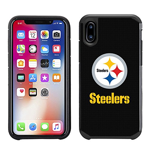 Prime Brands Group Cell Phone Case for Apple iPhone X - NFL Licensed Pittsburgh Steelers Textured Solid Color ()